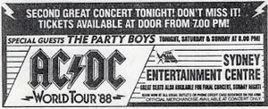 The Party Boys tour with ACDC